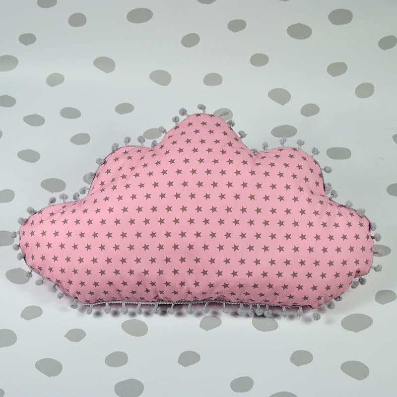 22b78dc9e8f Μαξιλάρι Σύννεφο Ροζ Γκρι Αστεράκια - Συννεφάκια στο Babyshop