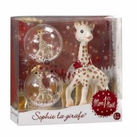 Η Σόφι Η Καμηλοπάρδαλη Χριστουγεννιάτικη Σε Κουτί Δώρου με δύο Χριστουγεννιάτικές μπάλλες Δώρο!