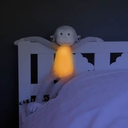 Max Μαιμουδάκι Λούτρινο Νανουρίσματος Λευκών Ήχων με Φωτάκι Νυκτός της Zazu