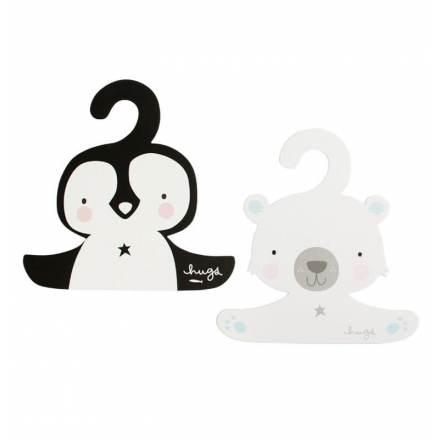Σετ 2 Κρεμάστρες Πιγκουίνος & Πολική Αρκουδίτσα της Little Lovely Company