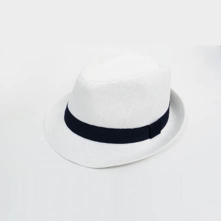 Καπέλο Λευκό με Μπλε Κορδέλα