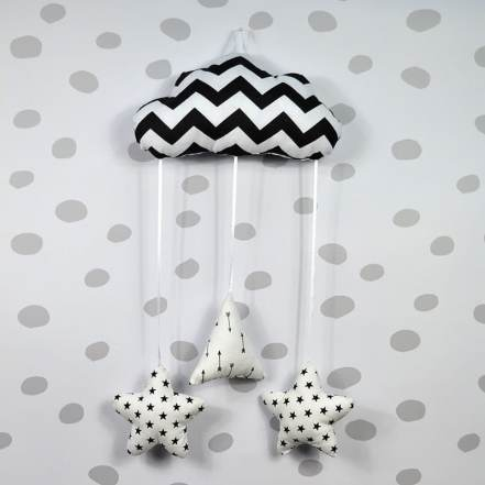 Κρεμαστό Συννεφάκι Λευκό με Μικρό Συννεφάκι Λευκό - Αστεράκια Λευκά