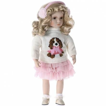 Κούκλα Πορσελάνης 46cm  Ροζ - Λευκό