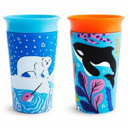 Σετ 2 Παιδικά Ποτηράκια 2PK Miracle Sippy Cup Πολική Αρκούδα & Όρκα 266ml Munchkin