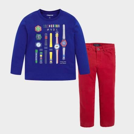 Σετ Μπλούζα Μακρυμάνικη Μπλε και Παντελόνι Κόκκινο Mayoral