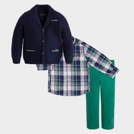 Σετ Ζακέτα Σακάκι Μπλε, Πουκάμισο Καρό Διπλής Όψης και Παντελόνι Πράσινο Mayoral