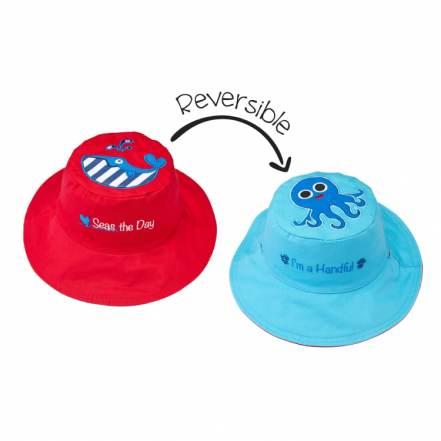 Καπέλο Διπλής Όψης UPF 50+ – Φάλαινα (Cotton) FlapJackKids