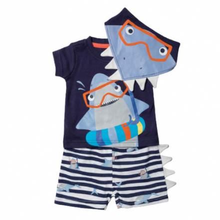 Μπλούζα Κοντομάνικη με Παντελόνι Κοντό και Σαλιάρα Μπαντάνα Καρχαρίας Lily & Jack