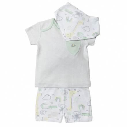 Μπλούζα Κοντομάνικη με Παντελόνι Κοντό Homegrown Baby Σετ 3τμχ.