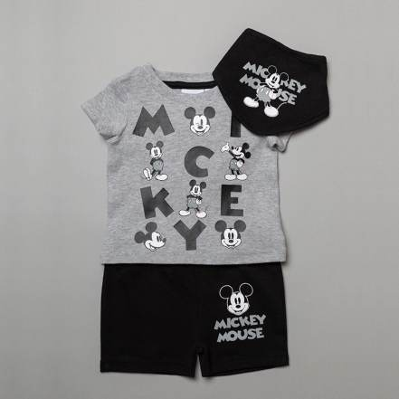 Μπλούζα Κοντομάνικη με Παντελόνι Κοντό και Σαλιάρα Disney Mickey Mouse