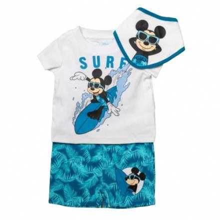 Μπλούζα Κοντομάνικη με Παντελόνι Κοντό και Σαλιάρα Disney Mickey Mouse Surfing