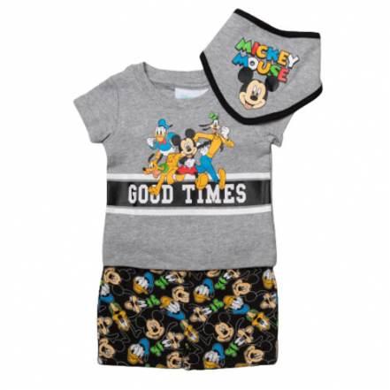 Μπλούζα Κοντομάνικη με Παντελόνι Κοντό και Σαλιάρα Disney Mickey Mouse and Friends