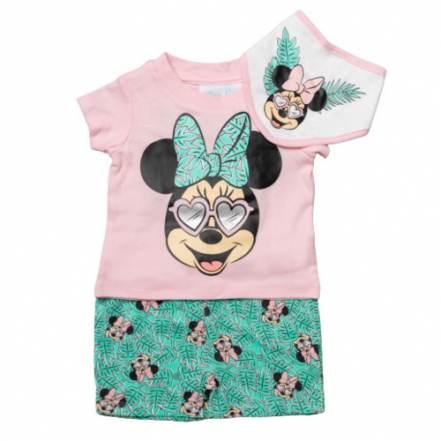 Μπλούζα Κοντομάνικη με Παντελόνι Κοντό και Σαλιάρα Disney Minnie Mouse Tropical