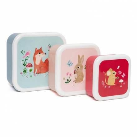 Σετ 3 Φαγητοδοχεία Lunch Box Woodland της Petit Monkey