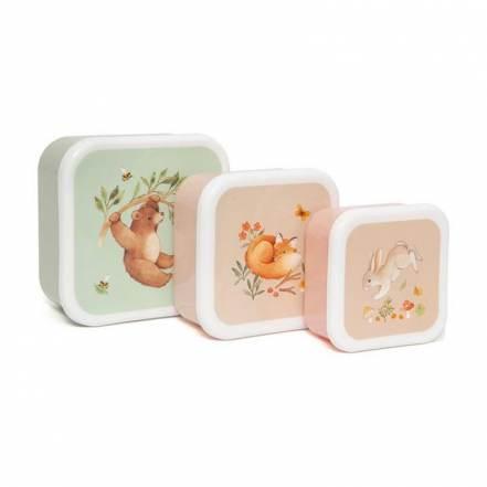 Σετ 3 Φαγητοδοχεία Lunch Box Set Bear and Friends της Petit Monkey